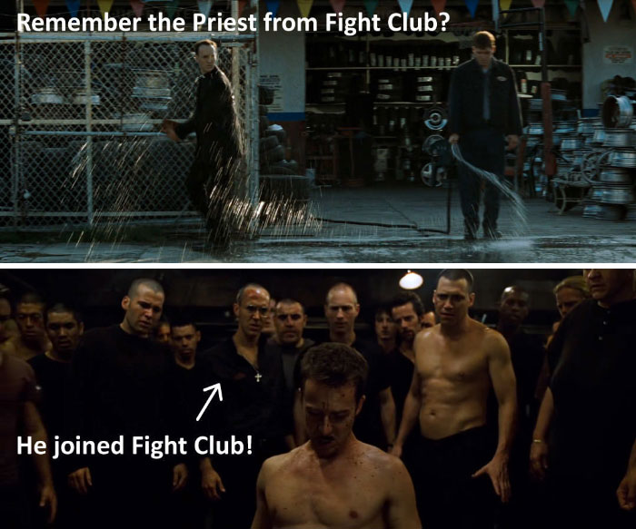 The Priest In 'Fight Club' Eventually Joins In