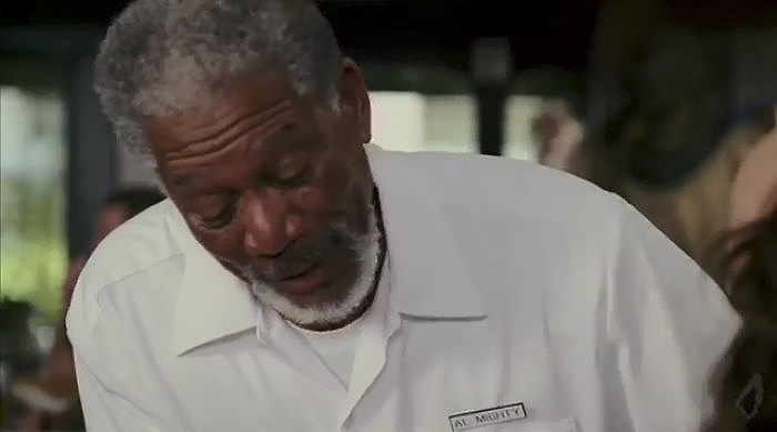 When God Poses As A Waiter In Evan Almighty His Name Tag Says Al Mighty