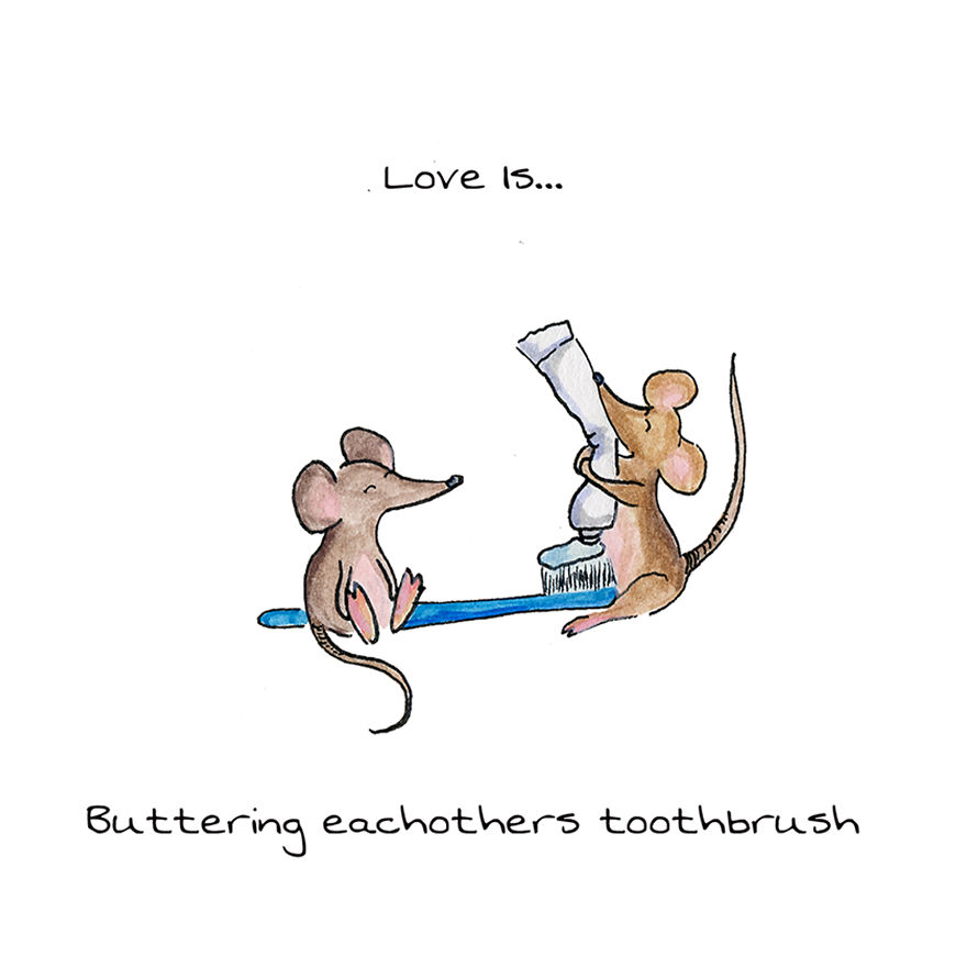 Love Is Buttering Eachothers Toothbrush