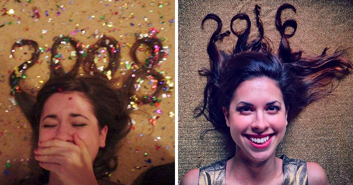 Woman Takes The Same New Year's Pic 10 Years In A Row And Someone Noticed She Hasn't Aged A Bit