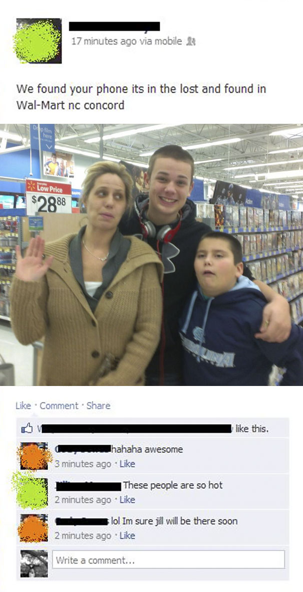 A Friend Of Mine Lost Her Phone And Some Nice People At Walmart Found It And Posted On Facebook To Tell Her