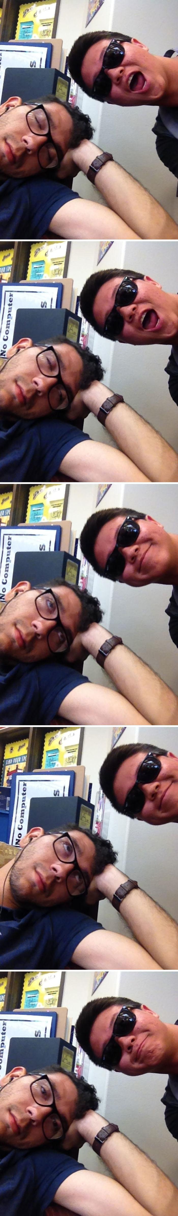 Me quedé dormido en la biblioteca y este tipo usó mi móvil para hacerme selfies. Entonces me desperté