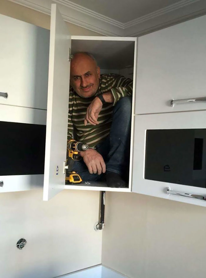 This Contractor Got In The Cabinet He Just Built To Prove Its Sturdiness