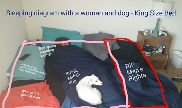 My So Always Denies Taking Up Space On The Bed. So I Took And Edited A Picture To Prove It. This Is For Men Everywhere