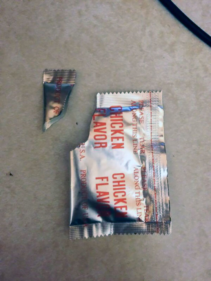Spent 30 Mins Looking Through The Trash For This Packet To Prove To My Girl The Corner Wasn't From A Condom Wrapper