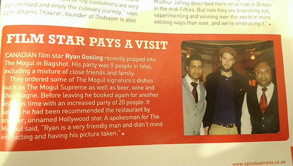 Not Ryan Gosling. Actually Printed In A Magazine