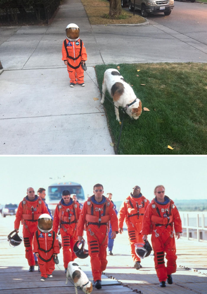 This Kid Walking His Dog In Full Astronaut Gear
