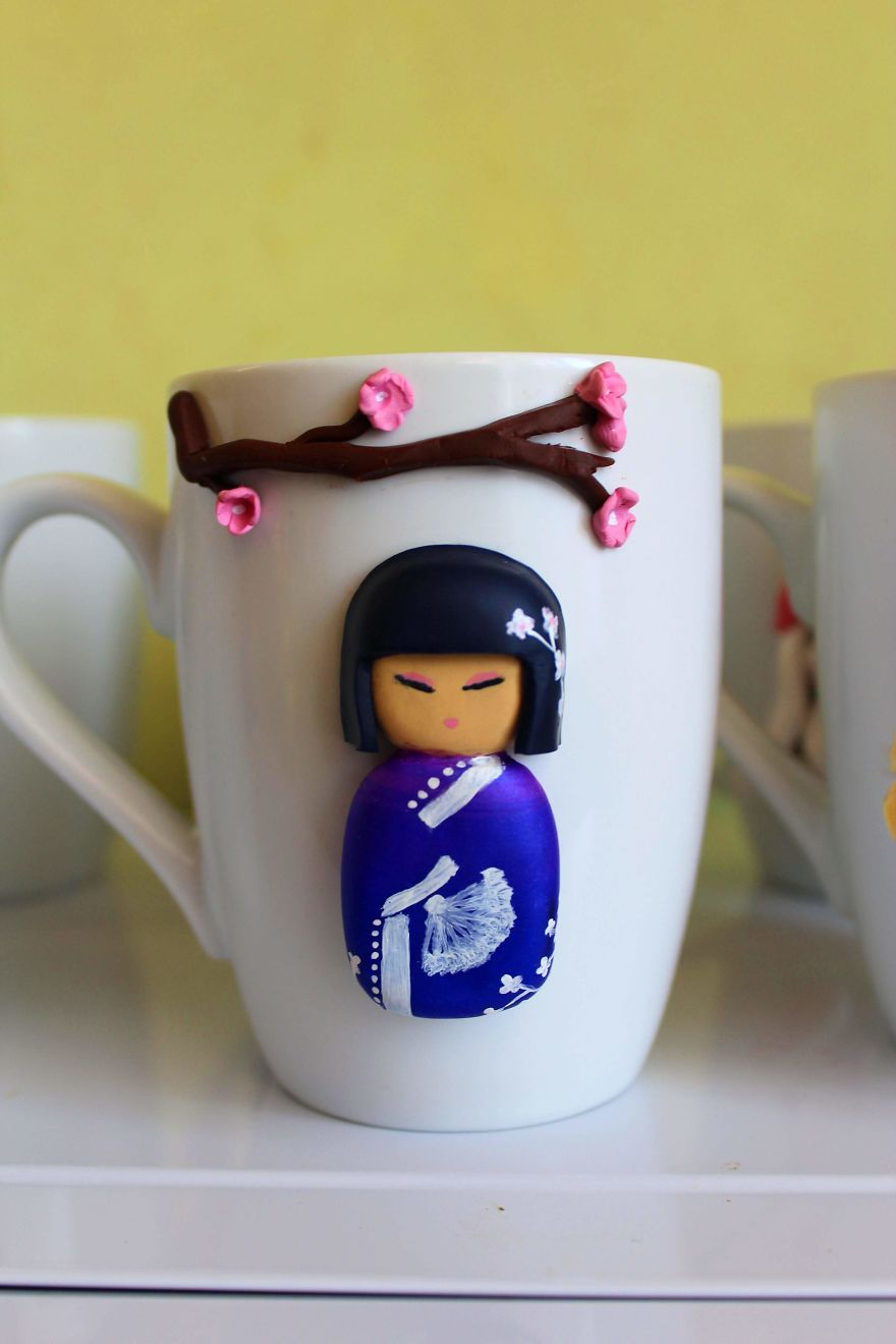 I Create Beautiful And Cute Polymer Clay Decorated Mugs Bored Panda