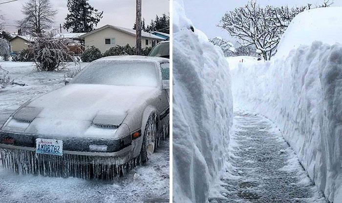 Hace tanto frío en EEUU y Canadá que la gente está publicando fotos de sus ventanas rompiéndose