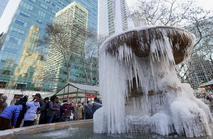 Frozen Water Fountain In New York