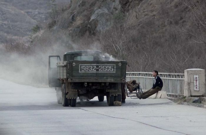 On The Highways, You Can See Trucks Loaded With Coal, Since North Korea Has Big Problem Getting Oil Like During Ww2
