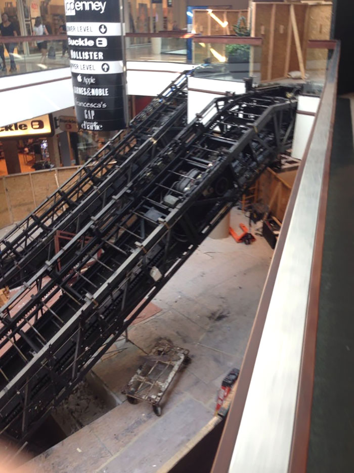 This Is What It Looks Like When An Escalator Is Being Built
