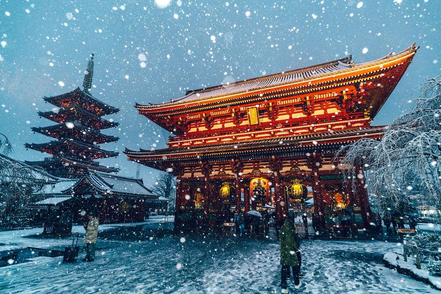 Tokyo bei Schneefall