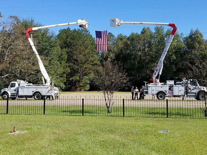 Buried My Dad Today. He Worked For Mississippi Power For Over 30 Years So They Sent Bucket Trucks To His Funeral