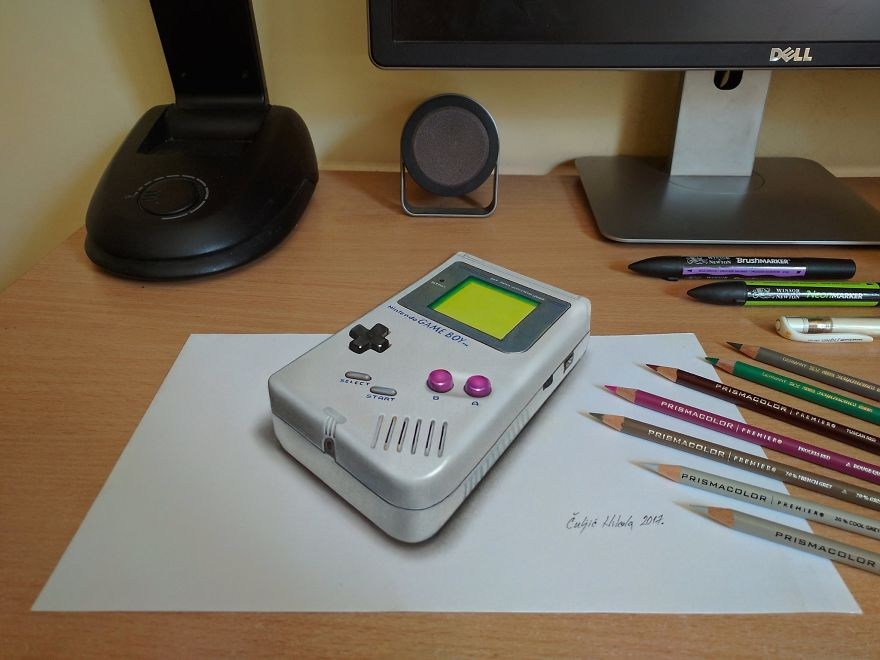 3D Nintendo Gameboy, Real Size Drawing