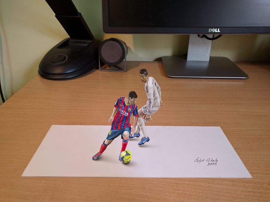 3D Messi And Cristiano Ronaldo Playing On My Desk