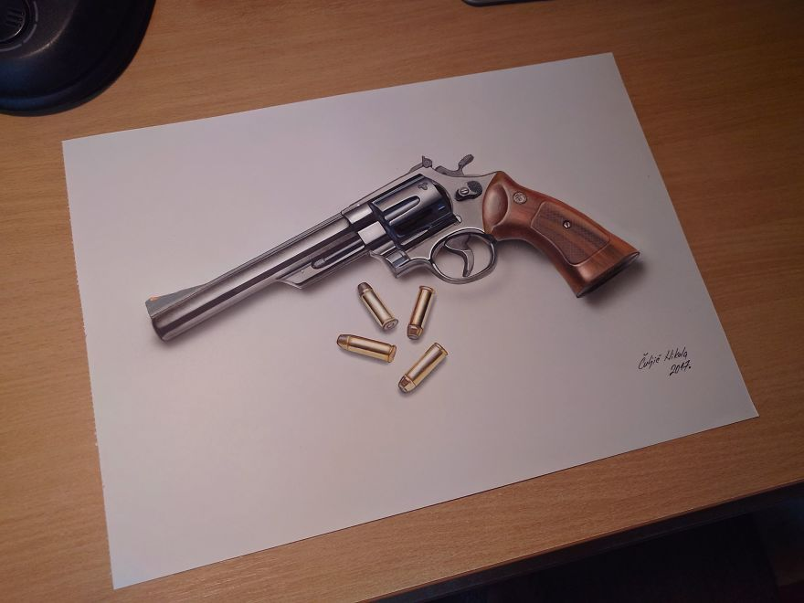Some Of My Drawings Are In Bird's Eye View Like This Magnum Revolver