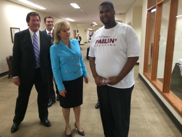 The Exact Moment Gov. Mary Fallin Realizes What The Shirt Really Says. Moments After Thanking The Man For Wearing Her Shirt