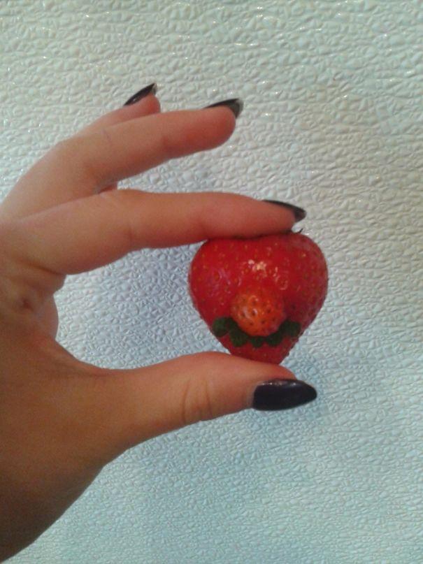 This Strawberry I Found Looks Like Mario