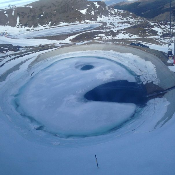 This Frozen Pond Looks Like Pacman