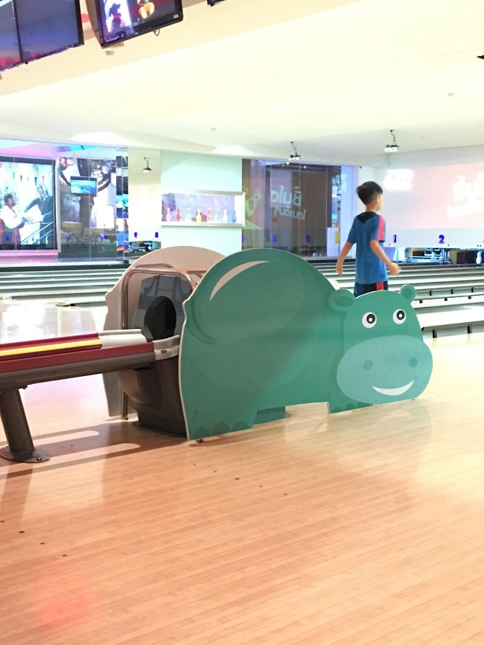 Bowling Alley Located In Bangkok. Cracks Me Up When The Balls Rolls Out