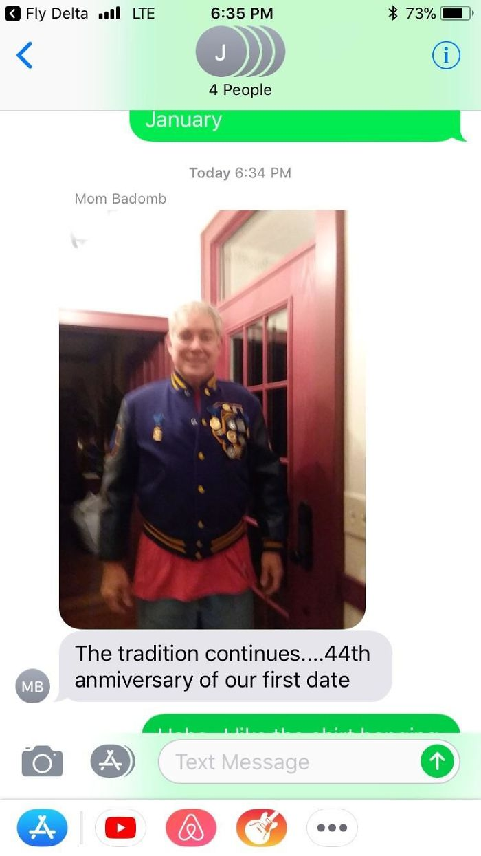 "My Dad Sneaks Out Of The House Every Year At The Same Time For My Parents' First Date Anniversary. He Puts On His Old High School Letter Jacket, Rings The Doorbell, And Asks, ""Is Kris Home?"" Only To Ask Her If She'll Go Out With Him, Reenacting That First Moment 44 Years Ago"