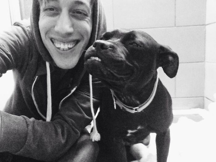 Este perro del refugio me enseña a sonreír