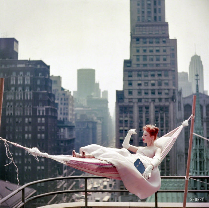 Dancer-Actress Gwen Verdon In A Hammock Wearing A Ballgown On NYC Rooftop (1953)