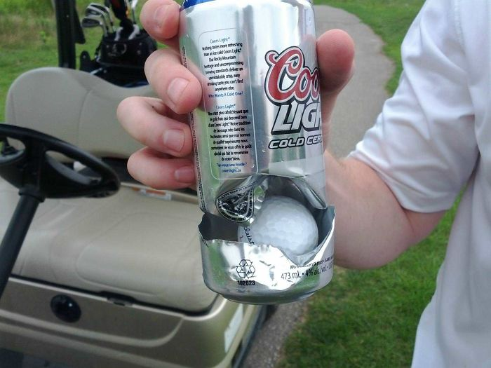 ...hole In One? Direct Hit While Drinking His Beer. Close Call!