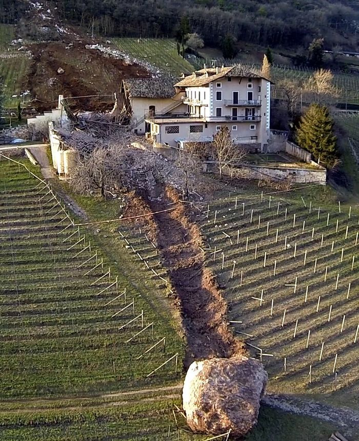 Boulder Nearly Takes Out Italian Farm House