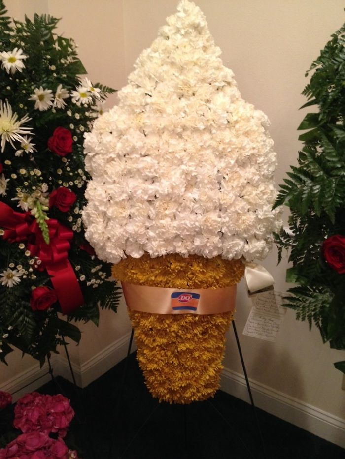 My Grandfather Opened The First Dairy Queen In My Hometown, This Was One Of His Flower Arrangement At His Funeral