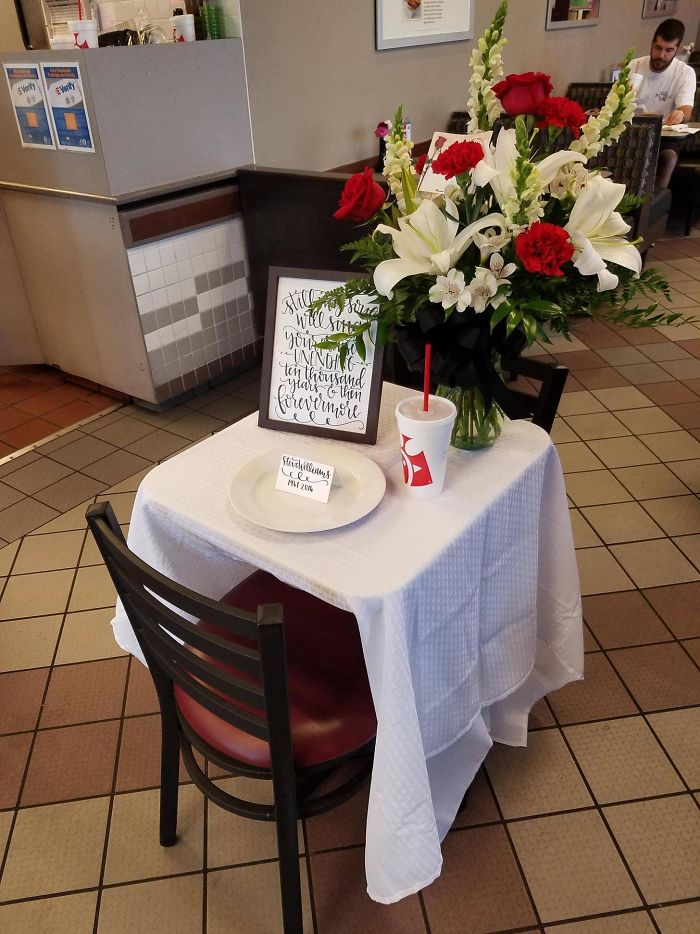 Chic-Fil-A Corporate Sent An Entirely New Staff To Cover The Day So The Original Employees Could Attend The Funeral Of The Owner, Whom Everyone Really Seemed To Love. They Set Him One Last Place At A Table. Good For You, Chic-Fil-A