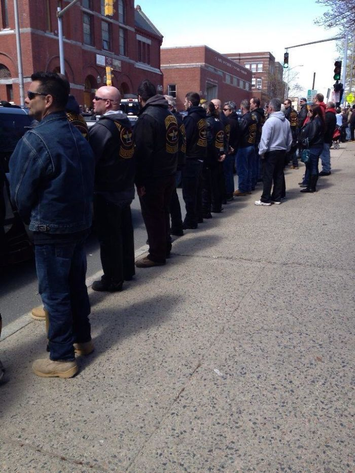 Patriot Guard Riders Preventing The Wbc From Picketing Boston Bombing Victim's Funeral