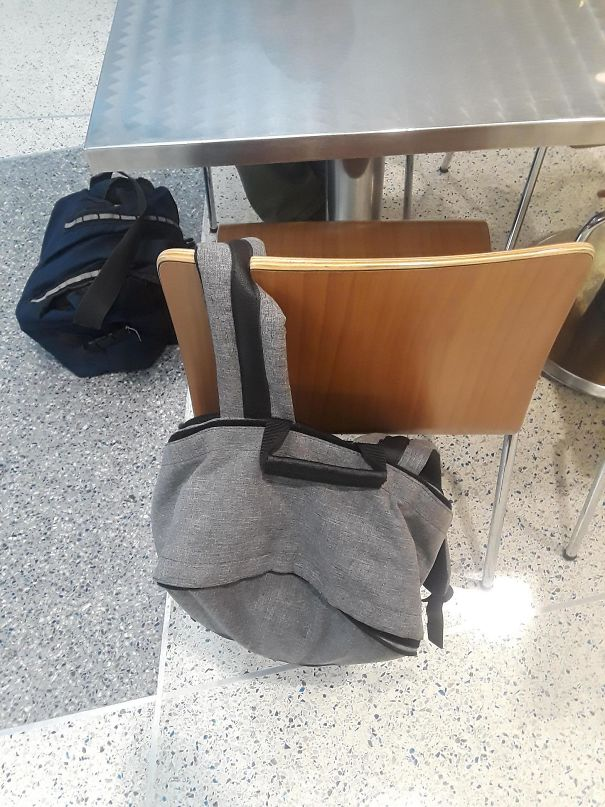 These Chairs Have A Notch Cut In Them To Keep Your Bag From Slipping Off