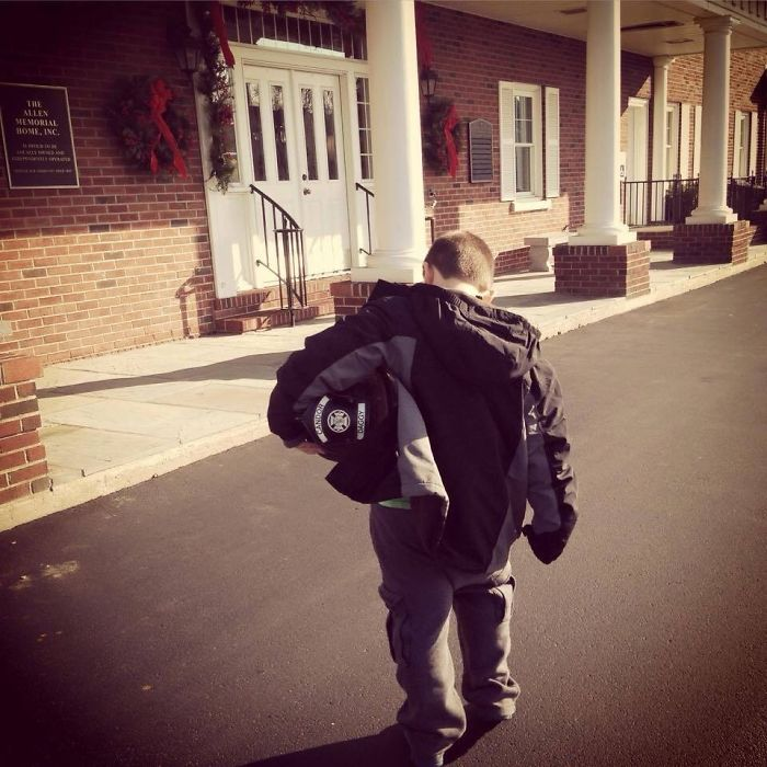 """Firefighter From A Local Fire Department Passed Away Recently. His Wife Recently Posted This With The Caption: """"The Moment You Realize Your 6-Year-Old Son Is Brave Enough To Deliver His Father's Fire Helmet To The Funeral Home"""""""