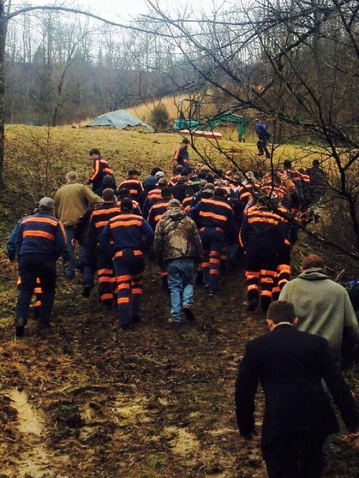 Coal Miners At A Funeral Today For A Co-Worker Killed At Work In Appalachia