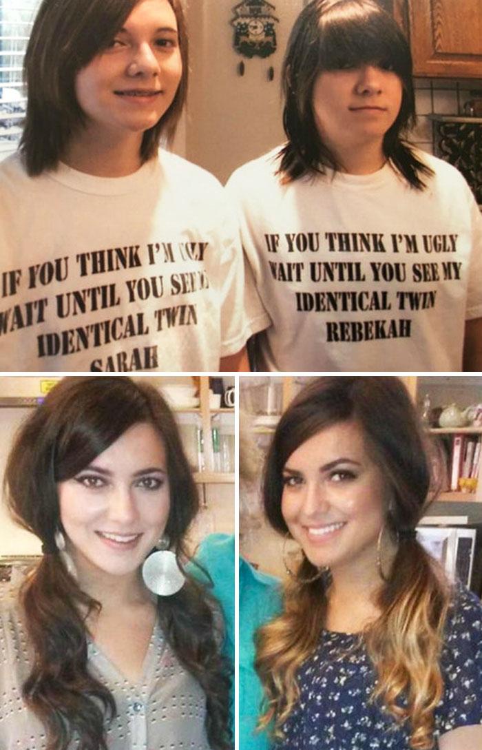 Lo que 10 años de maquillaje, autoestima y esfuerzo hacen por 2 gemelas feas