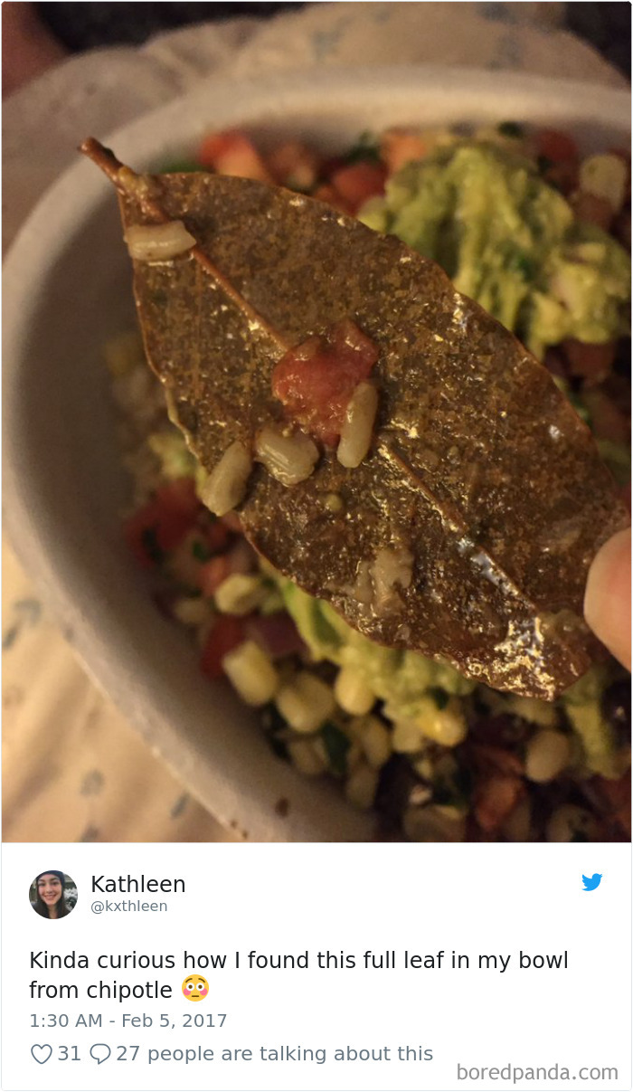 36 Times People Found Some Strange Leaves In Their Food, And Complained About It Online