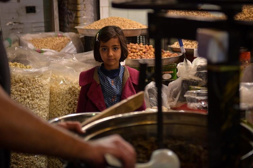 Little Iranian Girl Waiting For Sweets