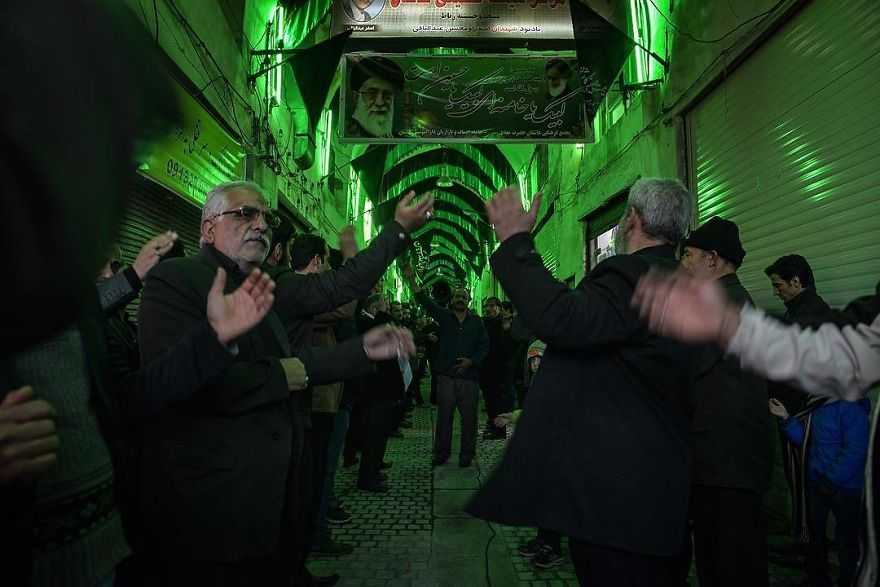 Imam Hussein Mourning. Mourners Are Beating Their Chests For Imam Hussein Shahadat (Martyr) Anniversary