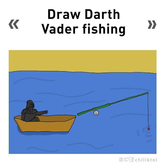 Dibuja a Darth Vader pescando