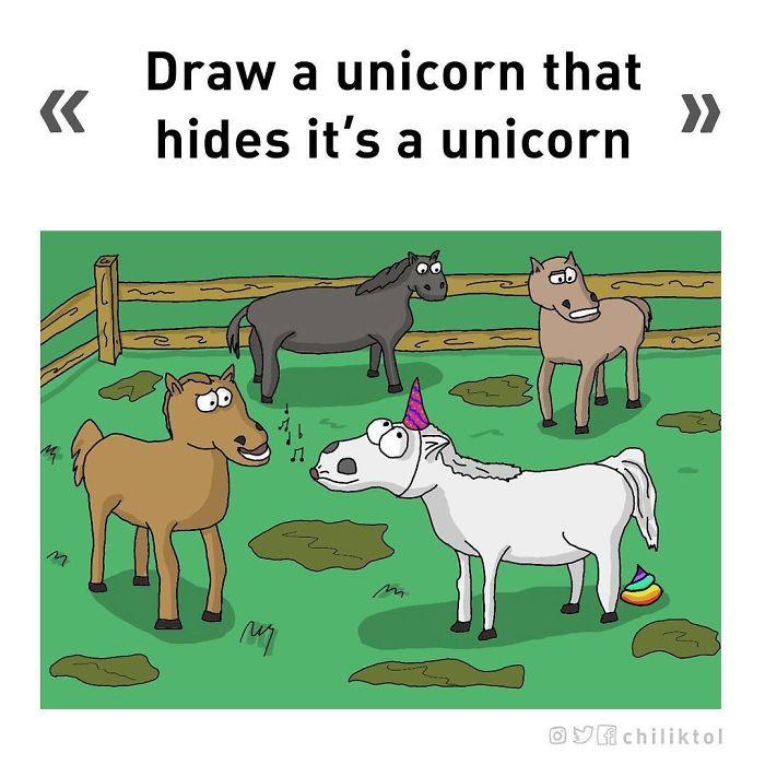Dibuja un unicornio que oculte que lo es