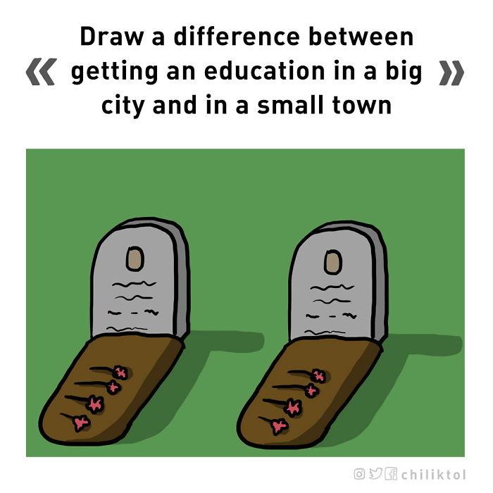 Dibuja la diferencia entre recibir una educación en la gran ciudad y en un pequeño pueblo