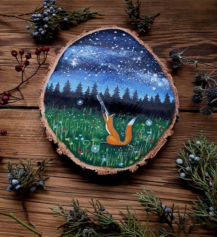 I Create Magical Paintings On Wood Inspired By The Forest