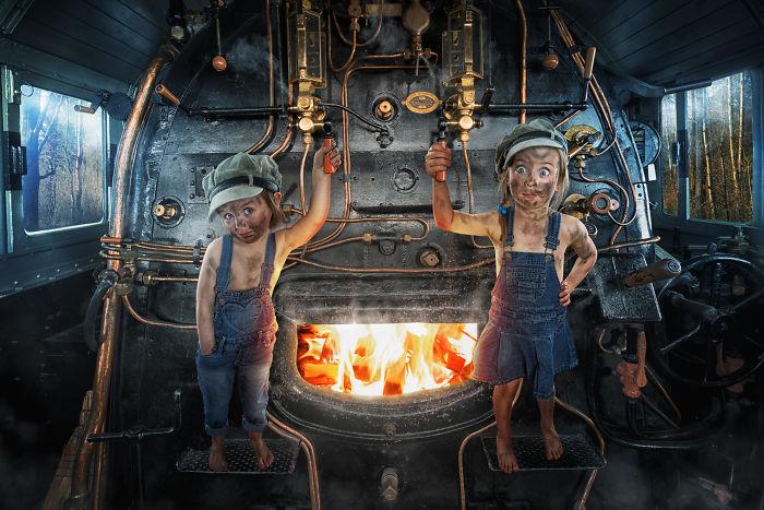 Mila Botón y Lou el maquinista