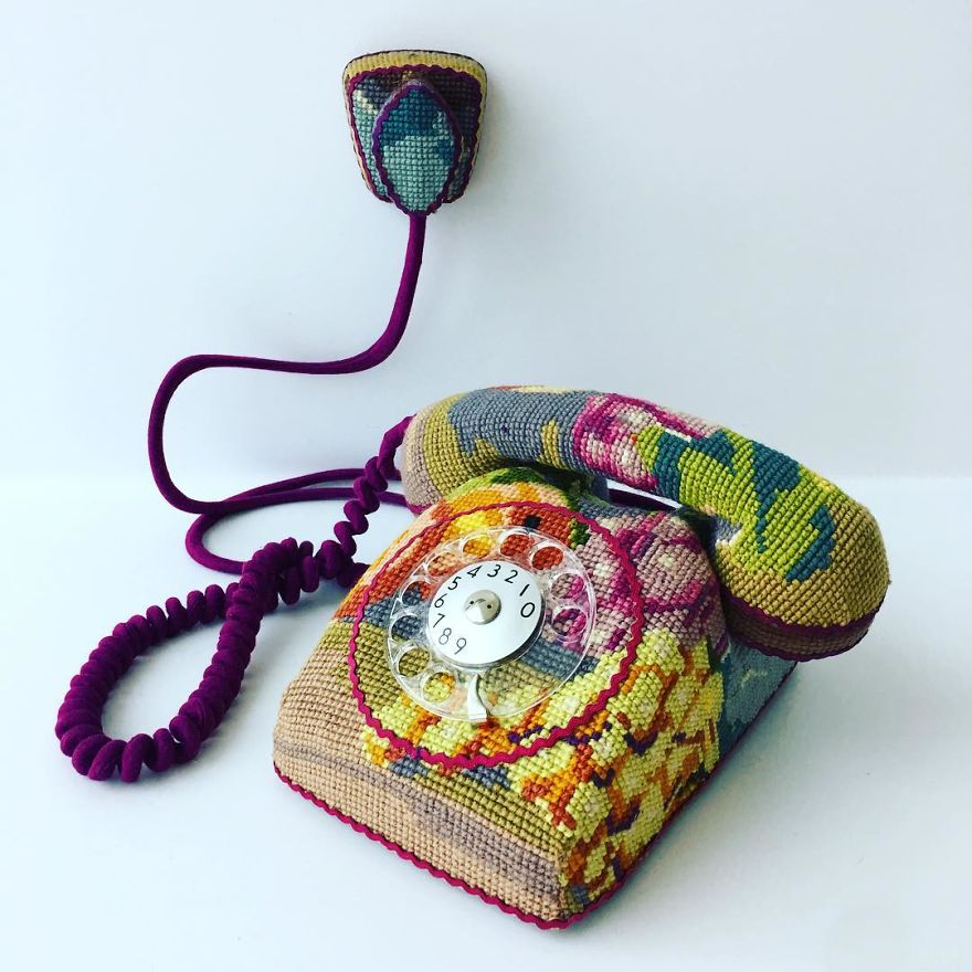 Swedish Artist Weaves Vintage Household Objects With Tapestry And The Result Is Incredible