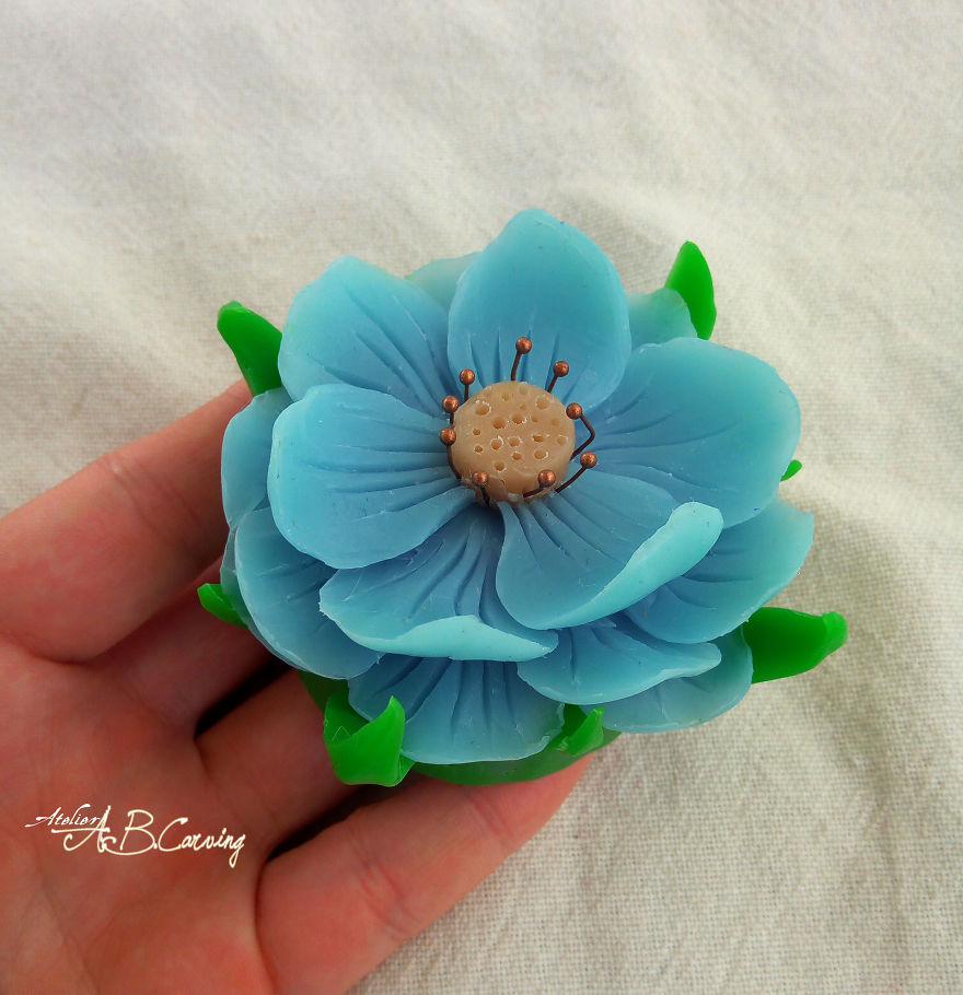 Tiny floral soap sculptures transform into real spring flowers in 11 sky blue magnolia izmirmasajfo