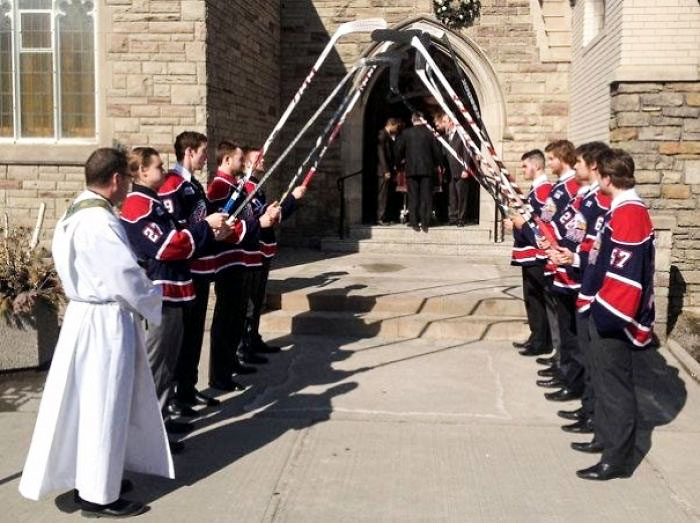 Funeral For A Local Hockey Player. He Played For The Saginaw Spirit