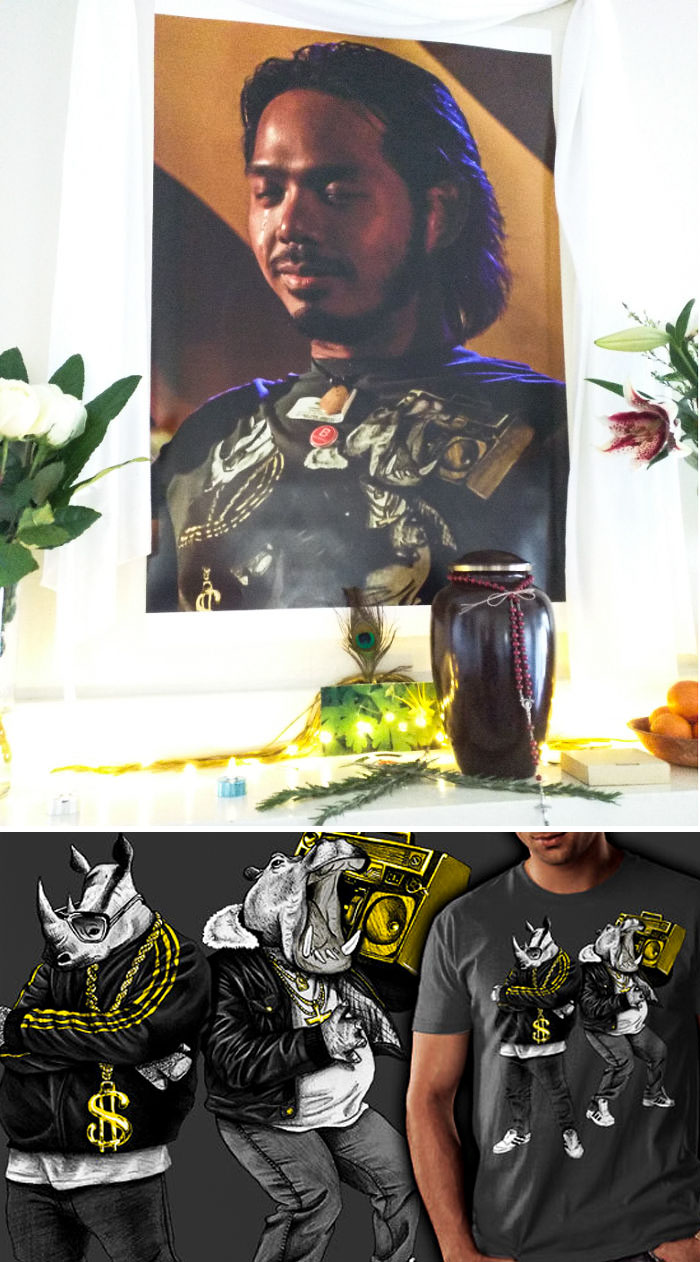 My Brother Is Wearing A Hiphop-Apotamus & Rhymenocerous Shirt In His Funeral Portrait. I Can't Stop Laughing. He Would Love This