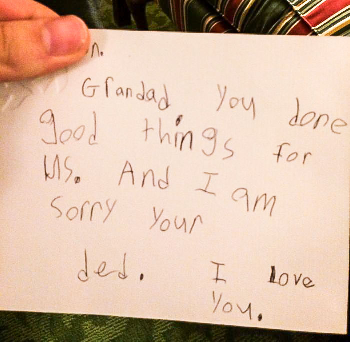 Grandfather's Funeral Was Today. My 6 Year Old Cousin Wanted To Leave A Note With Him